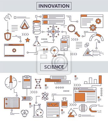 Wektor zestaw nowoczesnych cienkich linii naukowych koncepcji innowacji banery