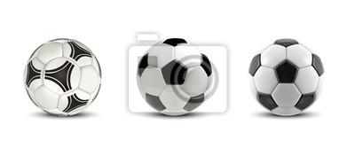 Obraz Wektor zestaw piłka nożna. Drzewne Realistyczne piłki nożnej lub futbolowe piłki na białym tle