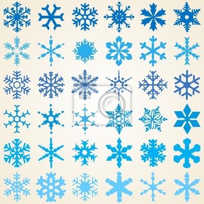 Wektor Zestaw Płatki śniegu Trzydzieści Sześć Różne Wzory Dekoracyjne Obrazy Redro