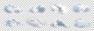 Obraz Wektor zestaw realistyczne pojedyncze chmury na przezroczystym tle.