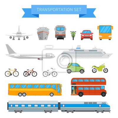 Wektor zestaw różnych pojazdów transportowych samodzielnie na białym tle. Ikony transportu miejskiego w płaskim stylu.