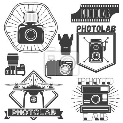 Wektor zestaw szablonów fotografii i logo. Logotypy studio fotograficzne, elementy projektowe.