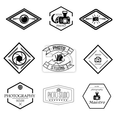 Wektor zestaw szablonów fotografii i logo. Logotypy studio fotograficzne, elementy projektowe. Etykiety, emblematy, odznaki, ikony