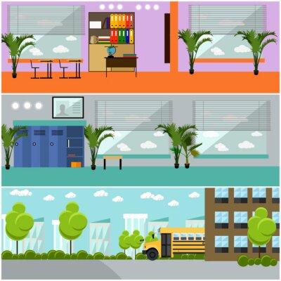 Wektor zestaw szko? Y koncepcji banery. Wnętrze, sala szkolna, podwórko, budynek i autobus