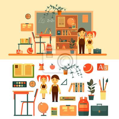 Wektor zestaw szkolnych przedmiotów wyizolowanych na białym tle. Klasa z tablicy i biurkiem.