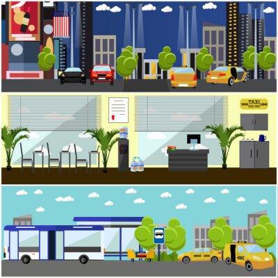 Wektor zestaw taxi koncepcji firma banerów.