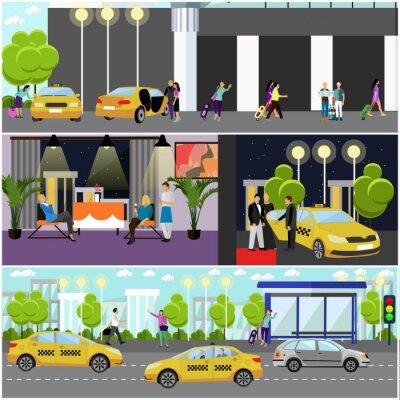 Wektor zestaw taxi koncepcji firma banerów. Ludzie złapać samochód na ulicy.