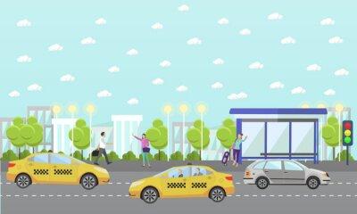 Wektor zestaw taxi koncepcji firma banerów. Ludzie złapać taksówkę na ulicy.