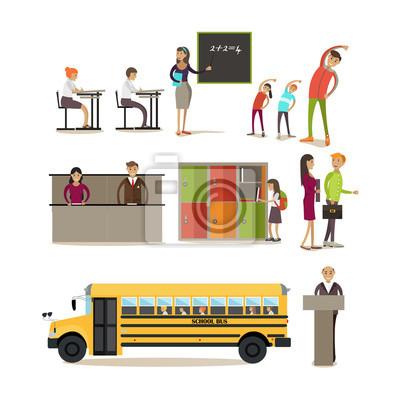 Wektor zestaw znaków szkolnych, elementy projektu w stylu płaskiej