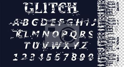 Wektor zniekształcony czcionki usterki. Modny krój pisma w stylu. Litery łacińskie od A do Z i cyfry od 0 do 9. Błąd ekranu komputera. Abstrakcyjny wzór szumu cyfrowego piksela. EPS10