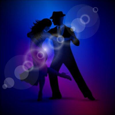 Obraz Wektora projektu z para tańczy tango na ciemnym tle.