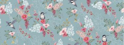 Obraz Wektorowa ilustracja bezszwowy kwiecisty wzór z ślicznymi ptakami w wiośnie na ślub, rocznicę, urodziny i przyjęcie. Projekt banera, plakatu, karty, zaproszenia i albumu