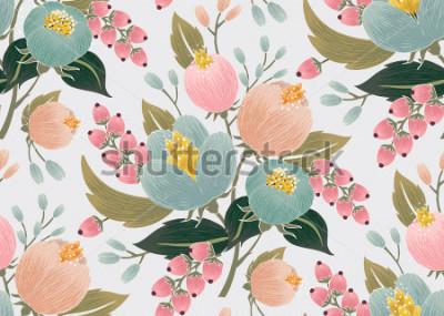 Obraz Wektorowa ilustracja bezszwowy kwiecisty wzór z wiosna kwiatami. Śliczny kwiecisty tło w słodkich kolorach