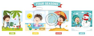 Obraz Wektorowa ilustracja dzieciak I Cztery pory roku