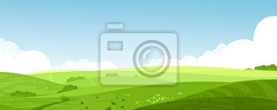 Obraz Wektorowa ilustracja piękny lato poly krajobraz z świtem, zieleni wzgórza, jaskrawy koloru niebieskie niebo, kraju tło w płaskim kreskówka stylu sztandarze.