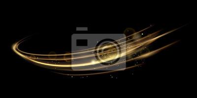 Obraz Wektorowa ilustracja złoty dynamick zaświeca linze skutek odizolowywającego na czarnym koloru tle. Streszczenie tło dla nauki, futurystyczny, koncepcja technologii energii. Cyfrowe linie obrazu ze świ