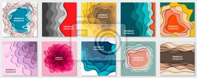 Obraz Wektorowa kolekcja 10 tło z kolorowymi papierowymi kształtami ciąć. Styl sztuki abstrakcyjnej papieru 3D, układ projektu prezentacji biznesowych, ulotek, plakatów, wydruków, dekoracji, kart, broszury