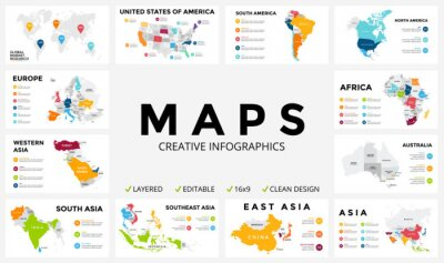 Obraz Wektorowa mapa infografika. prezentacja slajdów. Globalna koncepcja marketingu firmy. Kolor kraju. Dane Geografia komunikacji światowej. Szablon statystyka gospodarcza. Świat, Ameryce, Afryce, Europie