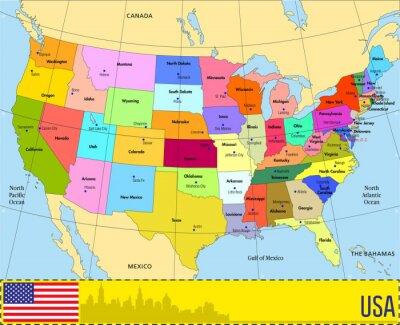 Obraz Wektorowa mapa USA z państw i ich stolic
