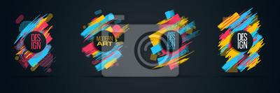 Obraz Wektorowa ramka tekstu Nowoczesna grafika artystyczna dla hippisów