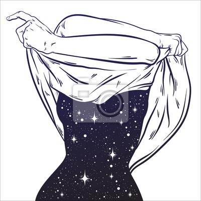 Obraz Wektorowa ręka rysująca surrealistyczna ilustracja rozbierać się kobiety z przestrzenią zamiast ciała. Surrealistyczna grafika tatuażu. Szablon karty, plakat, baner, nadruk na koszulkę.