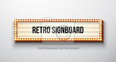 Obraz Wektorowa retro signboard lub lightbox ilustracja z dostosowywalnym projektem na czystym tle. Lekki baner lub vintage jasne billboard na reklamę lub swój projekt. Show, imprezy nocne, kino lub