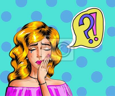 Wektorowa rocznika wystrzału sztuki ilustracja płacz kobieta