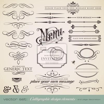 Obraz wektorowa zestaw: elementy kaligraficzne i strony dekoracji