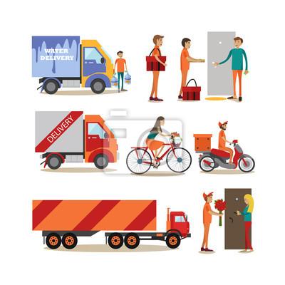 Wektorowe ikony zestaw płaskich ludzi dostawy żywności