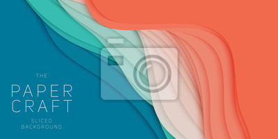 Obraz Wektorowy 3D abstrakcjonistyczny tło z papieru cięcia kształtem. Kolorowe rzeźby. Rzemiosło papierowe Kanion Antylopy krajobraz z kolorami gradientu. Minimalistyczny design do prezentacji biznesowych,