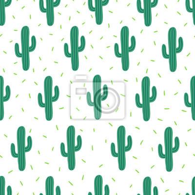 Wektorowy bezszwowy prosty wzór z kaktusami na białym tle