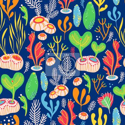Wektorowy bezszwowy wzór na błękitnym tle z wodorostami, dennymi gąbkami i koralami. Abstrakcjonistyczna ilustracja z kwiecistymi elementami. Naturalny design.