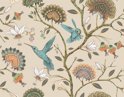 Obraz Wektorowy bezszwowy wzór z stylizowanymi kwiatami i ptakami. Kwiat ogród z kolibrów i roślin. Lekka tapeta w kwiaty. Projektowanie tkanin, tekstyliów, tapet, okładek, papieru do pakowania.