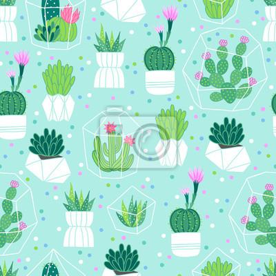 Wektorowy bezszwowy wzór z sukulentami i kaktusami w garnkach, terraria