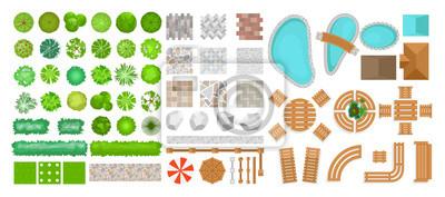 Obraz Wektorowy ilustracyjny ustawiający parkowi elementy dla krajobrazowego projekta. Widok z góry na drzewa, meble ogrodowe, rośliny i elementy architektoniczne, ogrodzenia, leżaki, parasole na białym tle