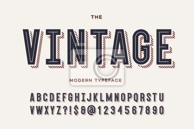 Obraz Wektorowy rocznika kolorowy typeface. Alfabet modny typografii sans serif na imprezę plakat, drukowanie na tkaninie, t shirt, promocja, ozdoba, pieczęć, etykieta, oferta specjalna. Fajna czcionka. 10