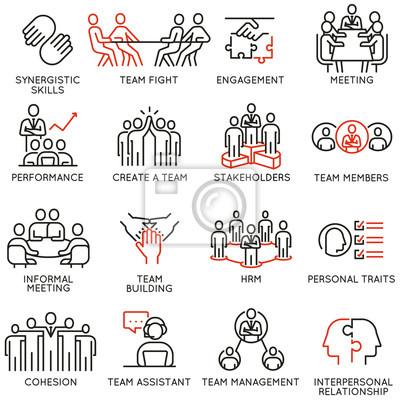 Obraz Wektorowy ustawiający liniowe ikony związane z procesem biznesowym, pracą zespołową, zarządzaniem zasobami ludzkimi i interesariuszami. Piktogramy mono-line i elementy projektu infografiki - część 6