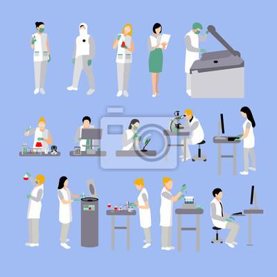 Wektorowy ustawiający ludzie w medycznym laboratorium. Lekarki i naukowiec pracuje, lab wektoru ilustracja.