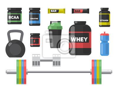 Wektorowy ustawiający sporta i sprawności fizycznej odżywianie.