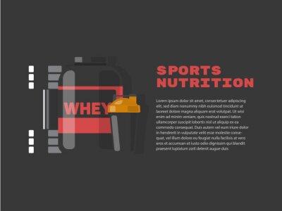 Wektorowy ustawiający sporta i sprawności fizycznej odżywianie. Projekt layoutu.