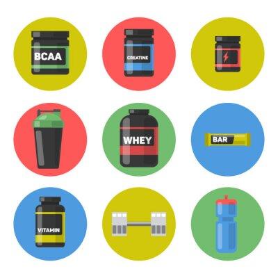 Wektorowy ustawiający sporta i sprawności fizycznej odżywianie. Zestaw ikon.