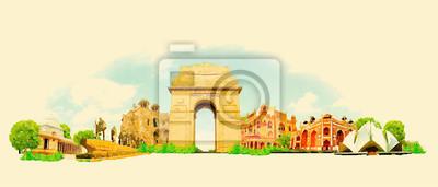 Obraz wektorowych ilustracji akwarela Delhi