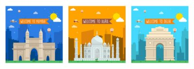 Obraz Welcome to India, Mumbai, Delhi, Agra card set. Travel of the India of flyer, magazines, book cover, Layout Concept, Template, Banner, Logo Design, Icon, Poster, Unit, Label, Web Header - vector.
