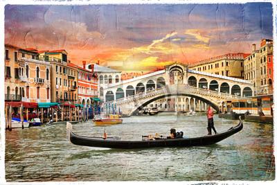 Weneckie zachód słońca, grafika w stylu sapiąc