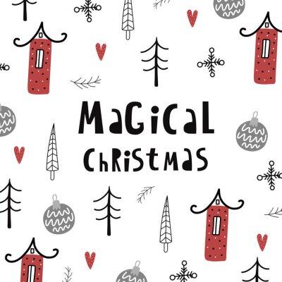 Wesołych Świąt i szczęśliwego nowego roku ręcznie rysowane plakat. Magiczne święta.
