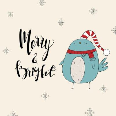 Wesołych Świąt i szczęśliwego nowego roku ręcznie rysowane plakat. Wesołych i jasnych.