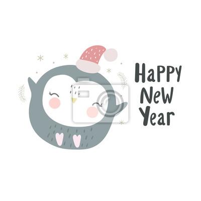 Wesołych Świąt i szczęśliwego nowego roku ręcznie rysowane wydruku