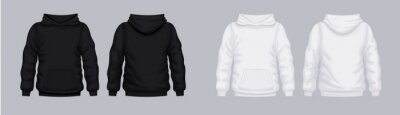Obraz White black hoodie front back mockup. Fashionable template sweatshirt casual clothes with hood cotton vector textile unisex set for sports walking.