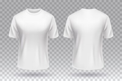 Obraz White blank T-shirt front and back template mockup design isolated.