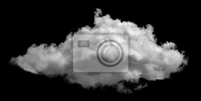 Obraz White cloud isolated on black background ,Textured smoke ,brush effect